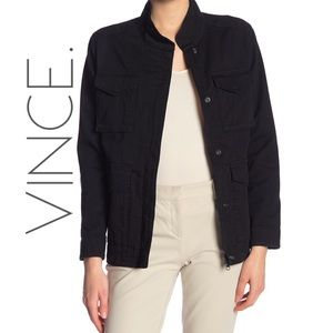 NWT Vince black military utility jacket coat L
